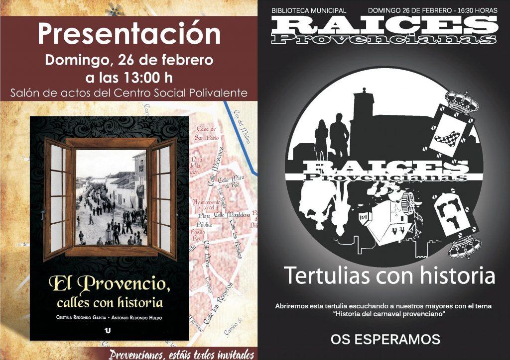 Este domingo día 26 de febrero, presentación del libro «El Provencio, calles con historia» y segunda edición de nuestras «Tertulias con historia»