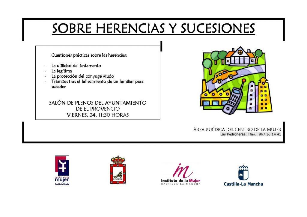El próximo viernes día 24 de febrero, a las 11:30 horas, tendrá lugar la charla «SOBRE HERENCIAS Y SUCESIONES»
