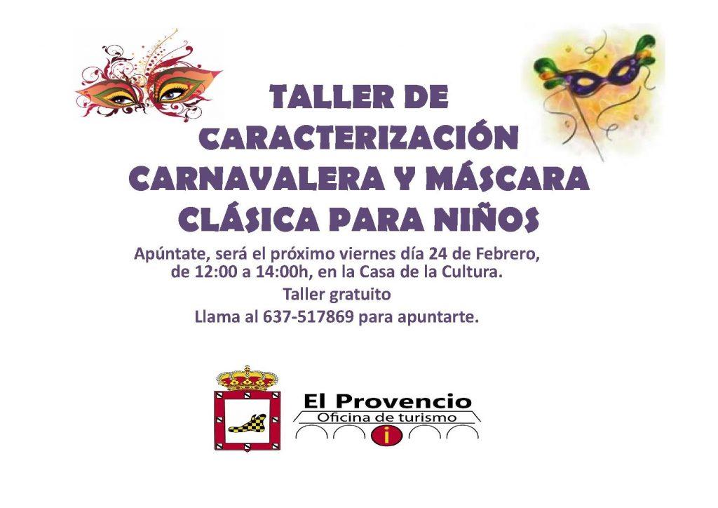 Taller gratuito de CARACTERIZACIÓN CARNAVALERA Y MÁSCARA CLÁSICA PARA NIÑOS