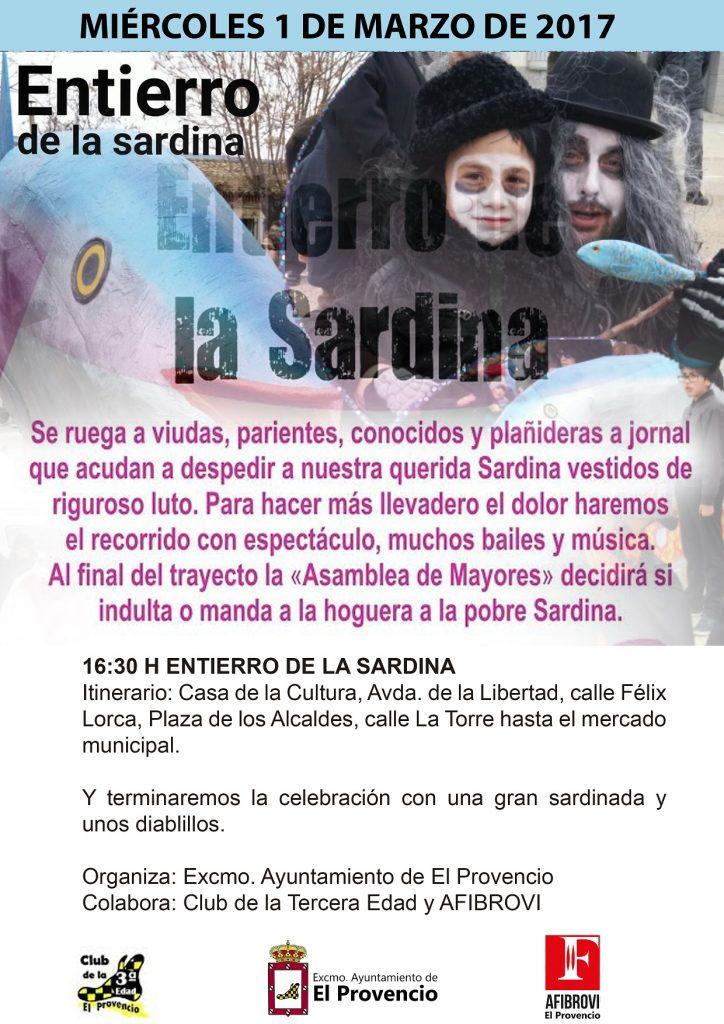 Mañana miércoles día 1 de marzo, a las 16:30 horas, celebraremos el ENTIERRO DE LA SARDINA