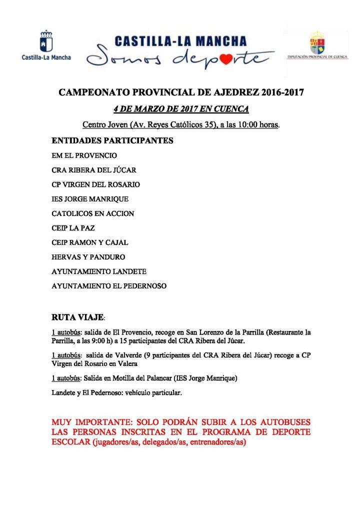 El Club de Ajedrez de El Provencio participará en el CAMPEONATO PROVINCIAL DE AJEDREZ 2016-2017