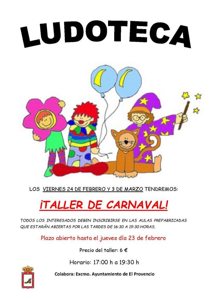 Los próximos viernes días 24 de febrero y 3 de marzo la ludoteca oferta el «TALLER DE CARNAVAL»