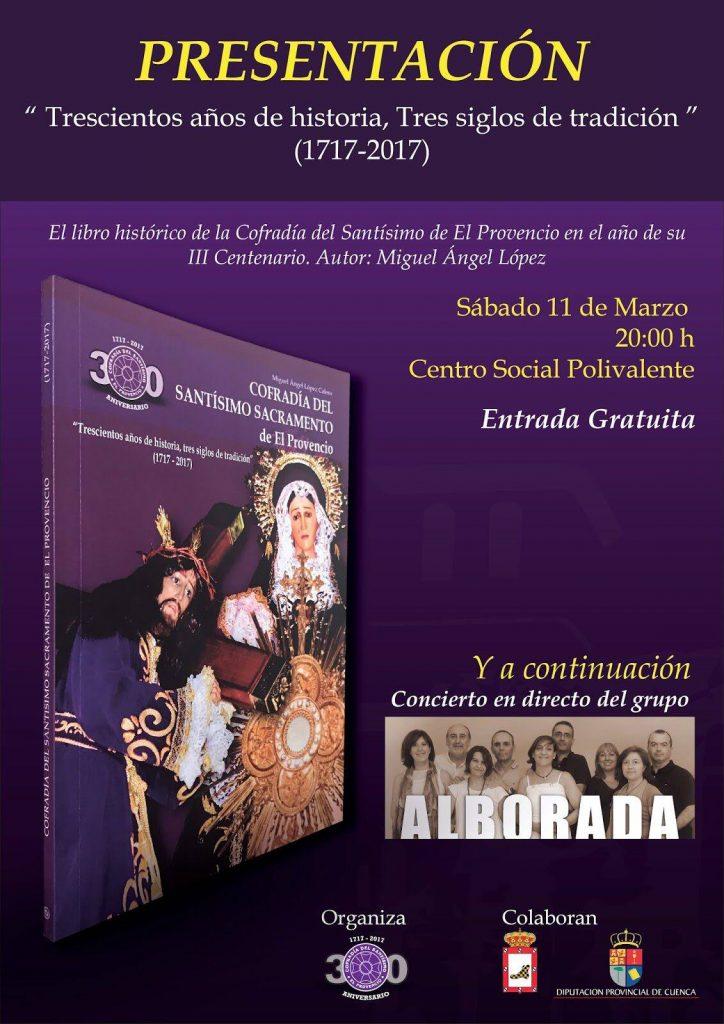 Mañana sábado día 11 de marzo a las 20:00 horas, presentación del libro «Trescientos años de historia, tres siglos de tradición»