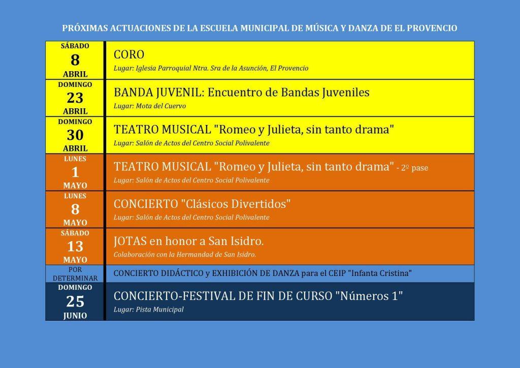 Actuaciones previstas hasta fin de curso de nuestra Escuela Municipal de Música y Danza