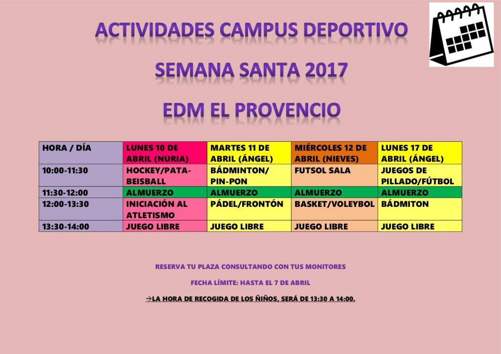 II CAMPUS DEPORTIVO DE SEMANA SANTA 2017