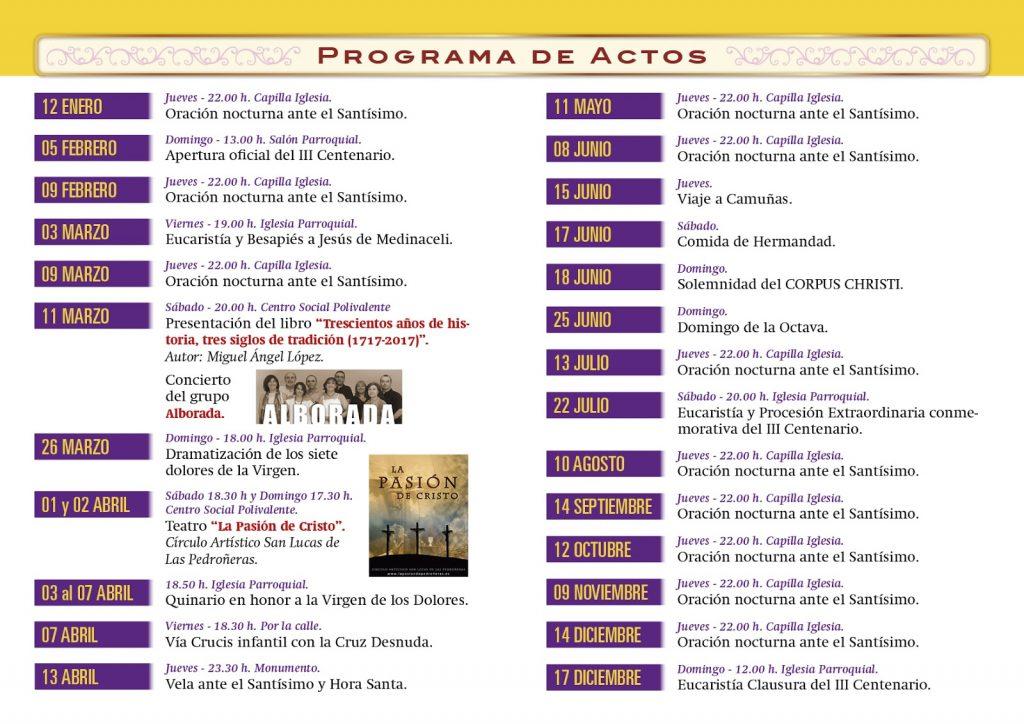 Programa de actos del III CENTENARIO DE LA COFRADÍA DEL SANTÍSIMO SACRAMENTO de El Provencio