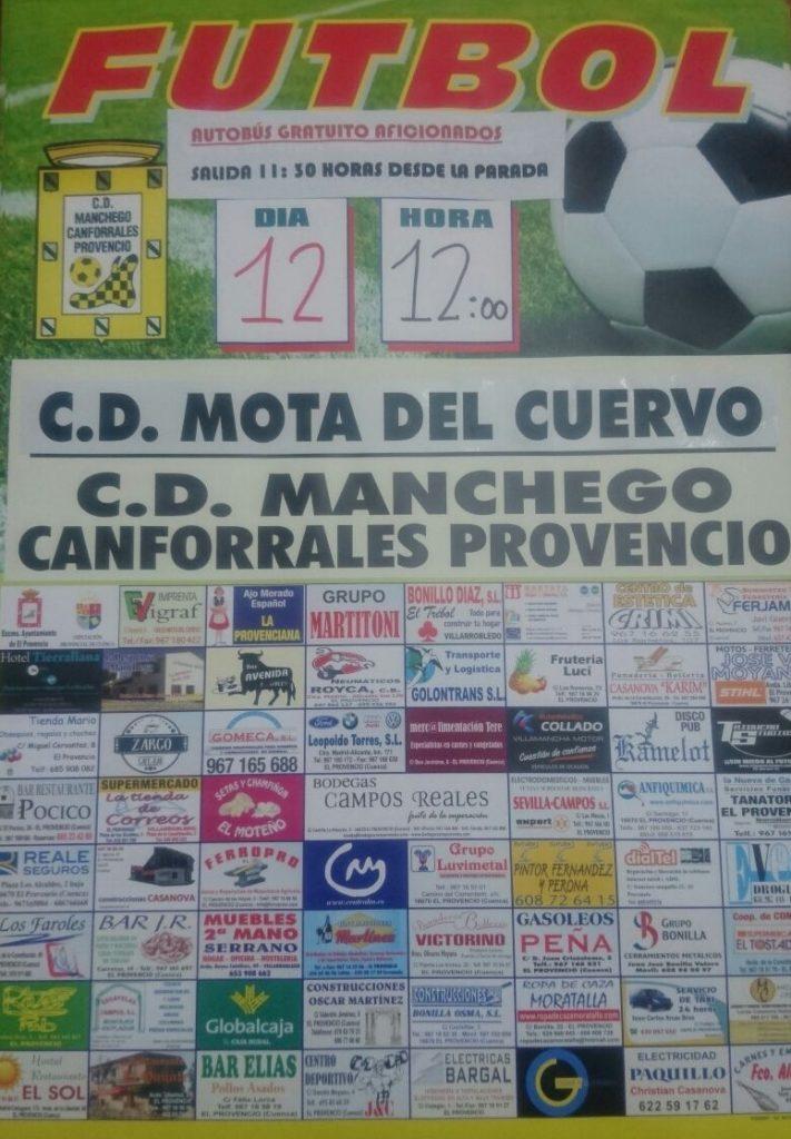 El próximo domingo día 12, a las 12:00 horas, fútbol CD MOTA DEL CUERVO – CD MANCHEGO-CANFORRALES PROVENCIO