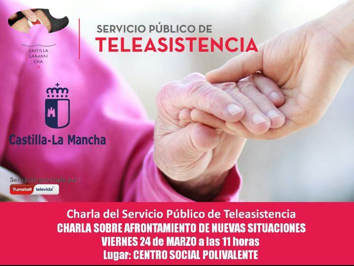 El próximo viernes día 24 de marzo a las 11:00 horas, charla ofrecida por el SERVICIO PÚBLICO DE TELEASISTENCIA