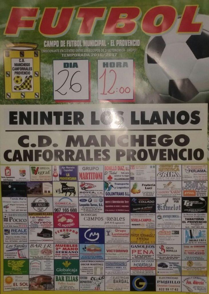 El próximo domingo día 26, a las 12:00 horas, fútbol ENINTER LOS LLANOS – CD MANCHEGO-CANFORRALES PROVENCIO