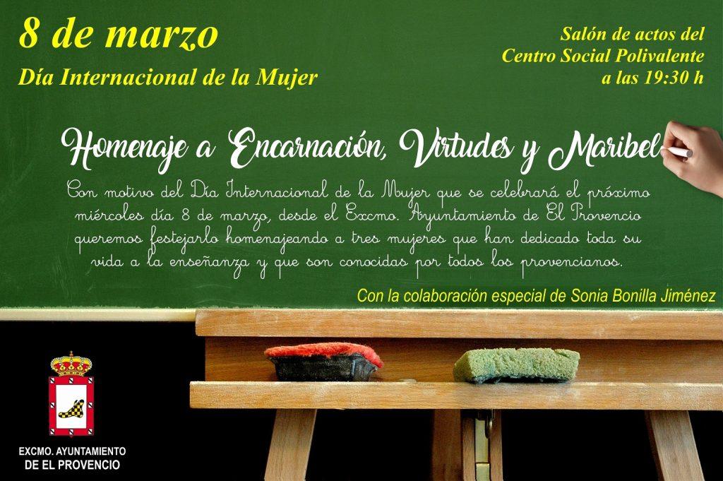 Nuestro Excmo. Ayuntamiento homenajeará la figura de tres docentes con motivo del Día Internacional de la Mujer