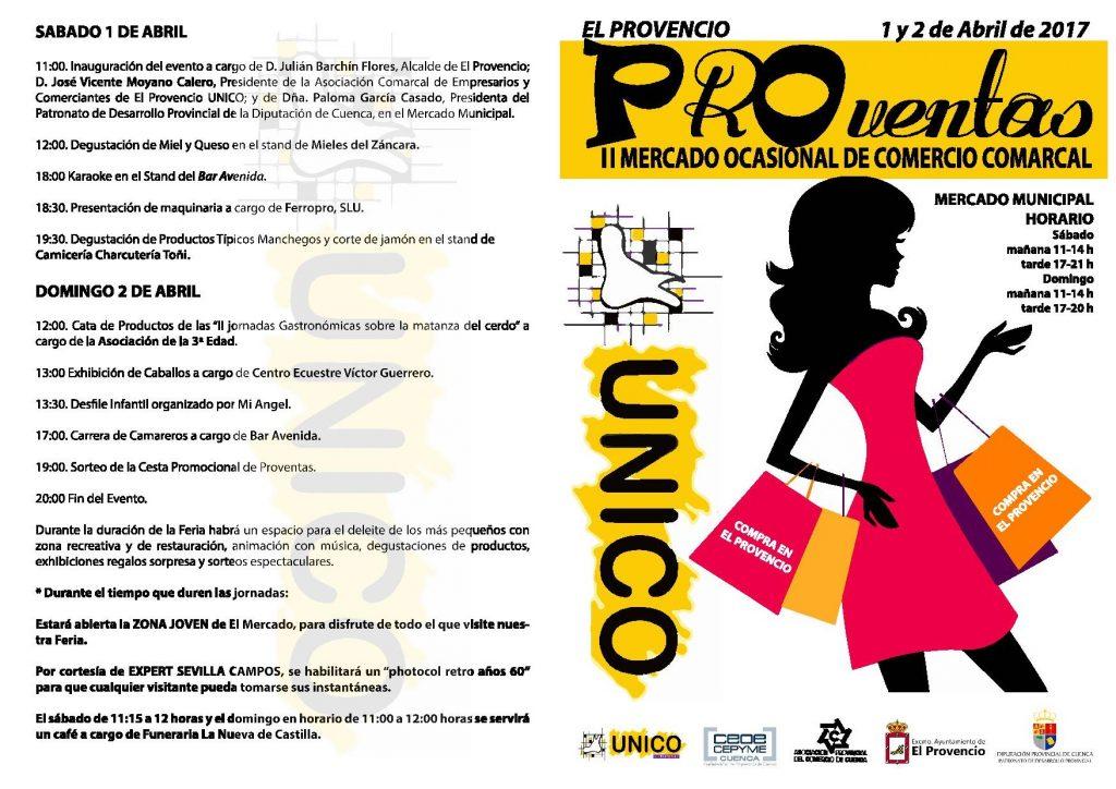 Programación y plano de expositores del II MERCADO OCASIONAL DE COMERCIO COMARCAL «PROventas»