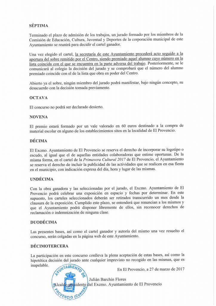 Bases del concurso infantil para la elección del cartel anunciador de la «II PRIMAVERA CULTURAL 2017»