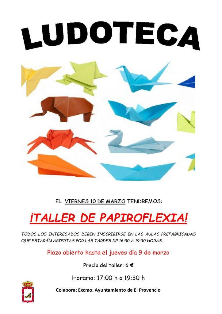 El próximo viernes día 10 de marzo la ludoteca oferta un «TALLER DE PAPIROFLEXIA»