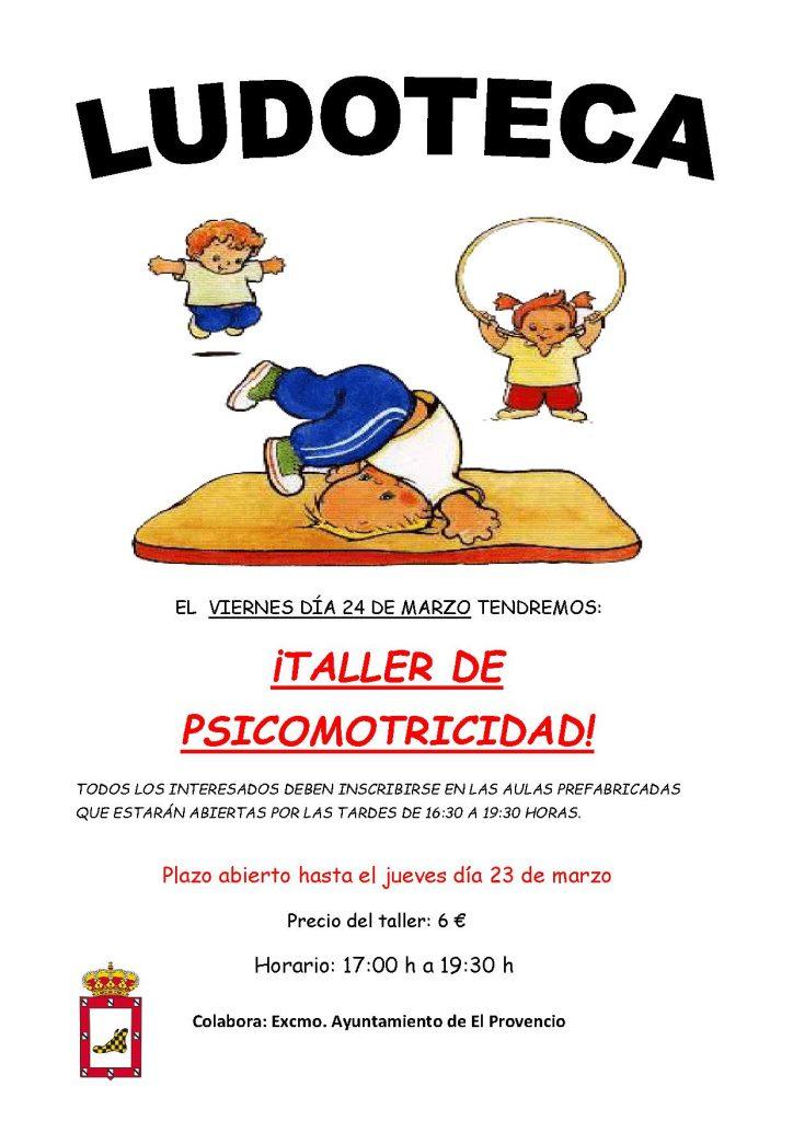 El próximo viernes día 24 de marzo la ludoteca oferta un «TALLER DE PSICOMOTRICIDAD»