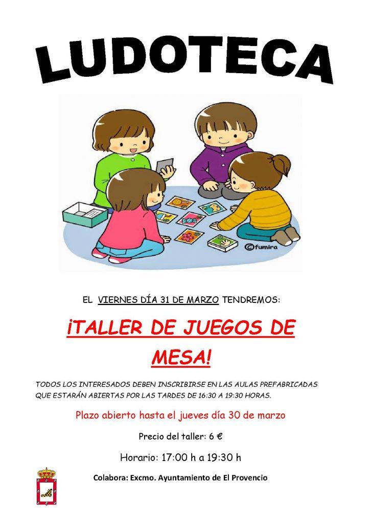 El próximo viernes día 31 de marzo la ludoteca oferta un «TALLER DE JUEGOS DE MESA»