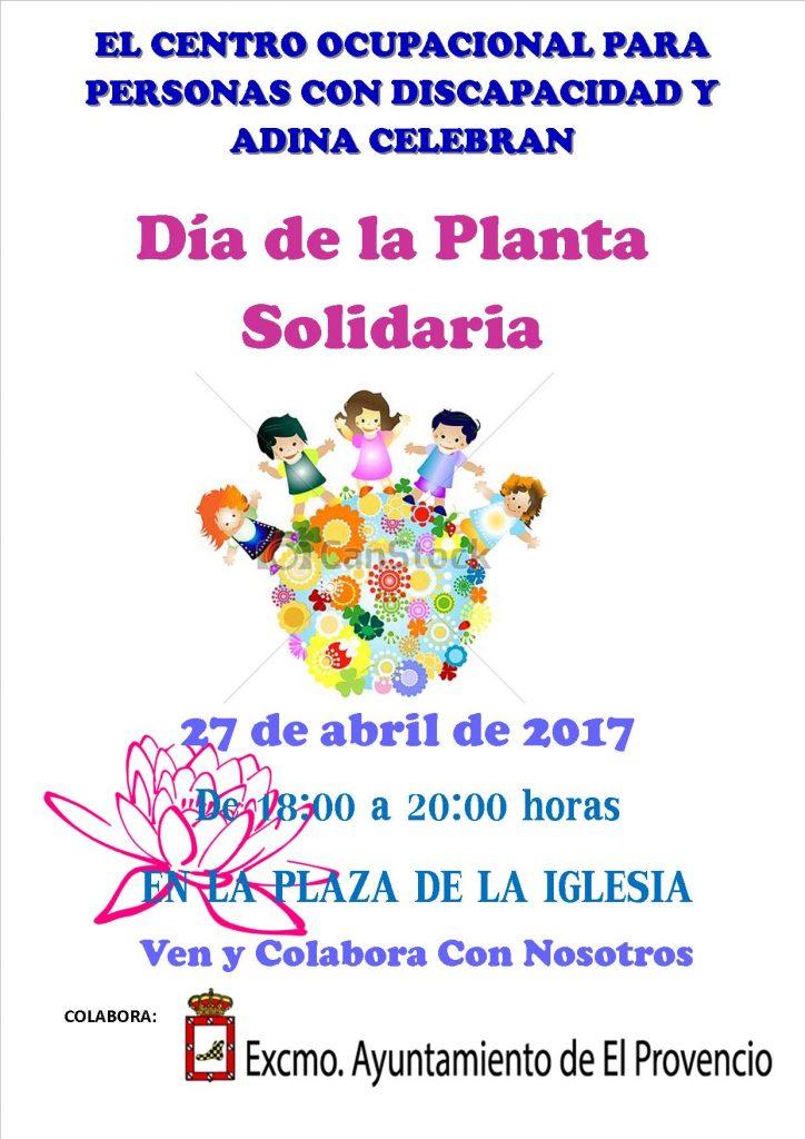El próximo jueves día 27 de abril, de 18:00 a 20:00 horas en la plaza de la iglesia, Día de la Planta Solidaria