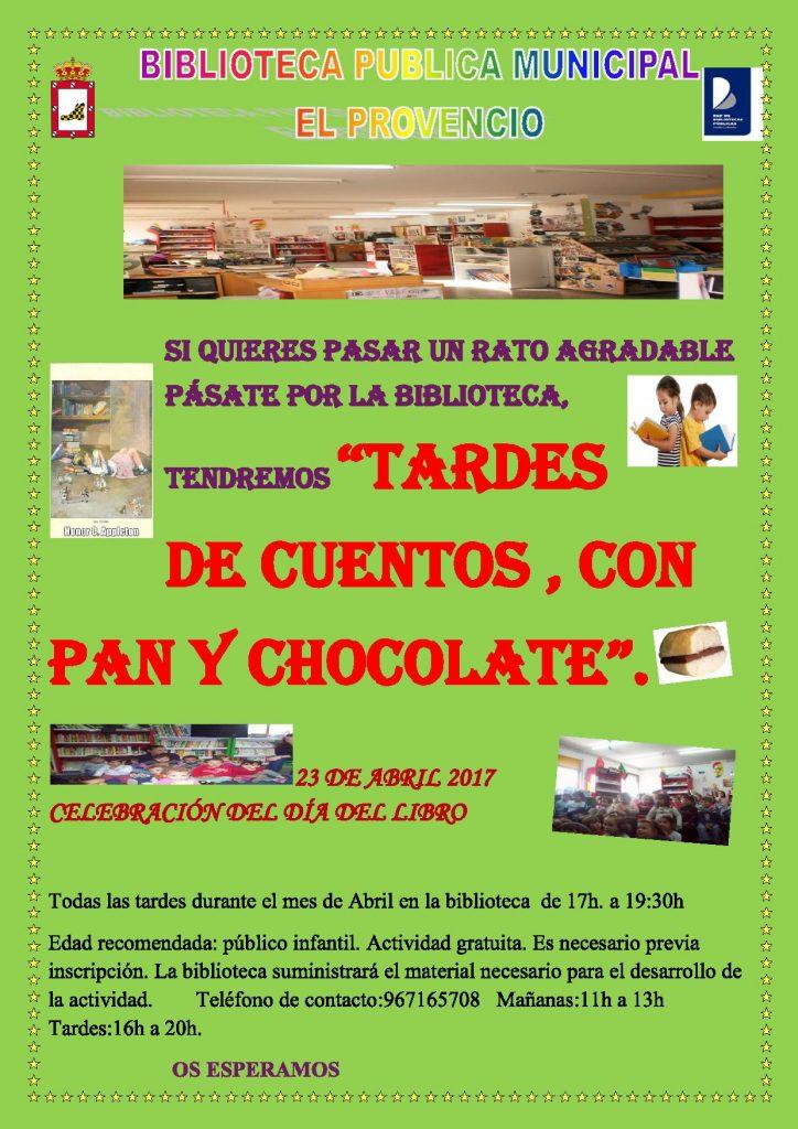 Nuestra biblioteca pública municipal presenta «TARDES DE CUENTOS, CON PAN Y CHOCOLATE»