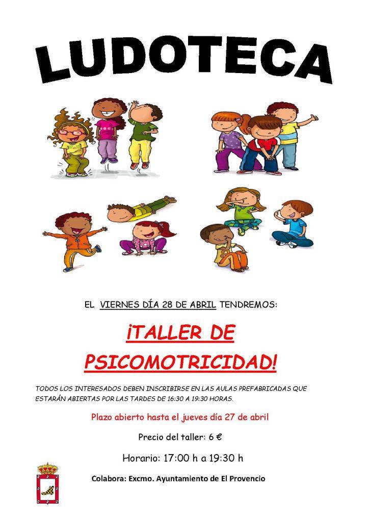 El próximo viernes día 28 de abril la ludoteca oferta un «TALLER DE PSICOMOTRICIDAD»