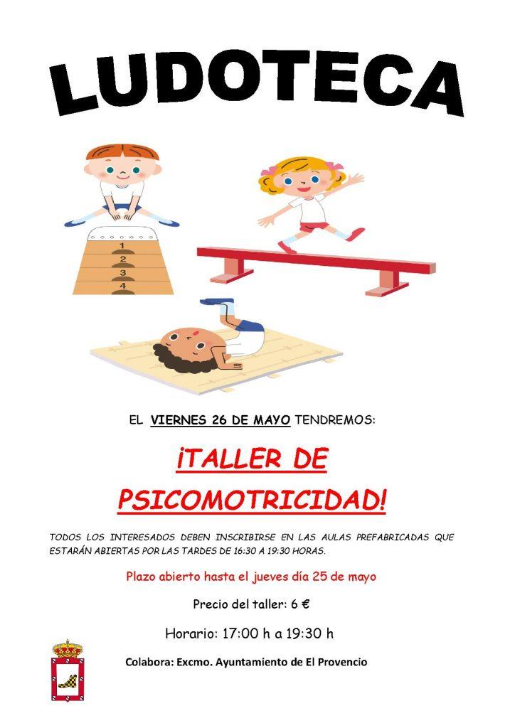 El próximo viernes día 26 de mayo la ludoteca oferta el «TALLER DE PSICOMOTRICIDAD»
