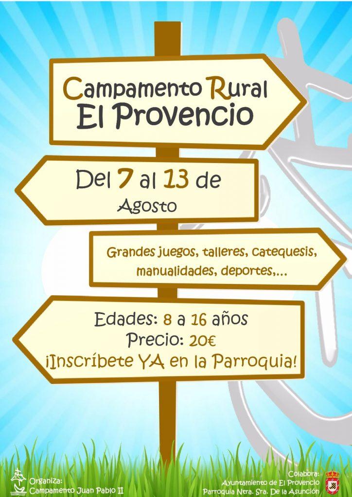 El Campamento Juan Pablo II organiza el CAMPAMENTO RURAL El Provencio