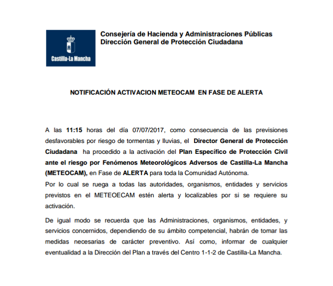 NOTIFICACIÓN ACTIVACIÓN METEOCAM EN FASE DE ALERTA