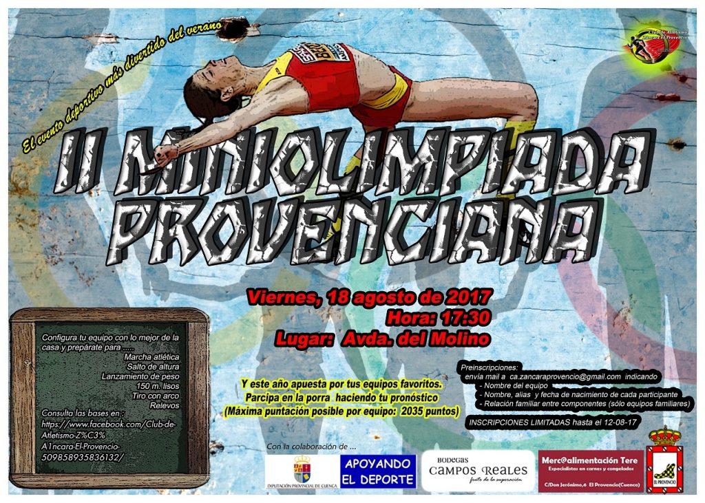 Realiza ya tu preinscripción para participar en la II MINIOLIMPIADA PROVENCIANA