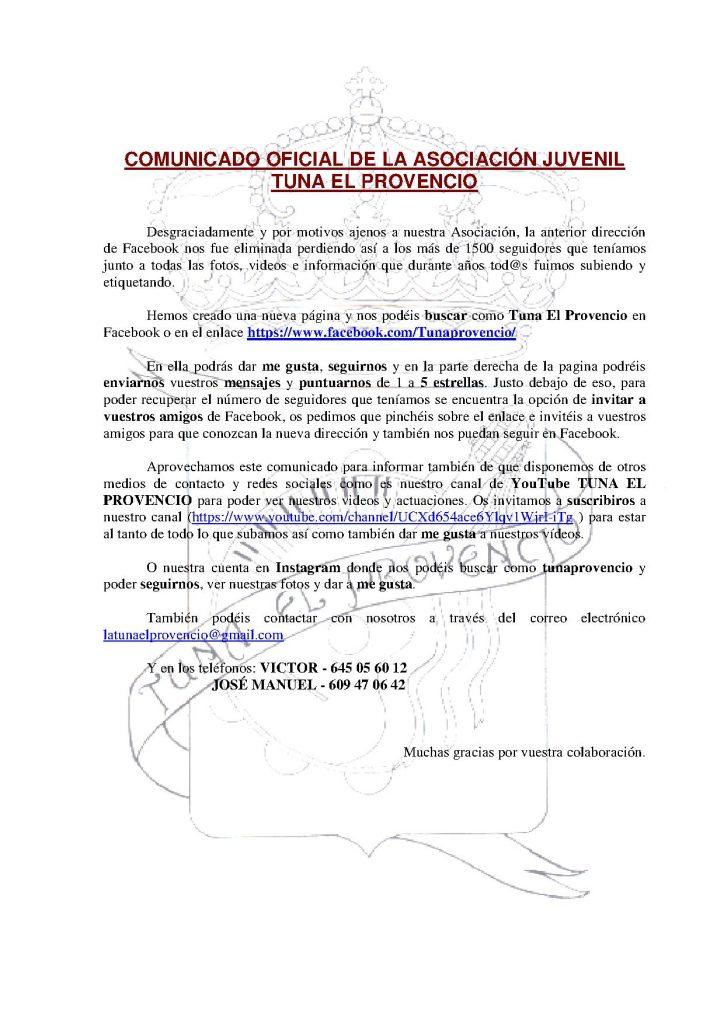 Comunicado oficial de la Asociación Juvenil Tuna de El Provencio