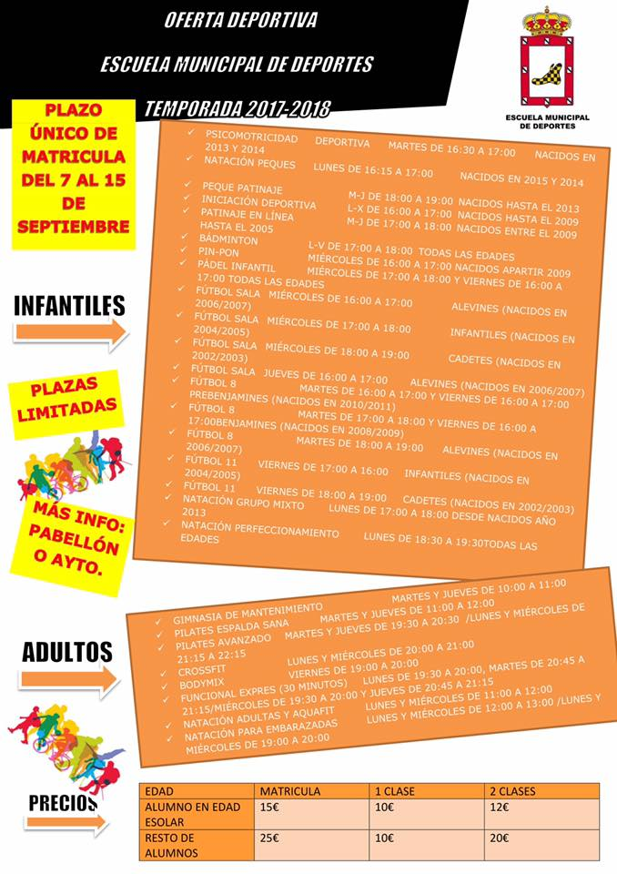 Se abre el plazo único de matrícula de la Escuela Municipal de Deportes desde el 7 hasta el 15 de septiembre