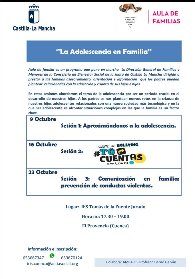 El IESO Tomás de la Fuente Jurado y el AMPA Profesor Tierno Galván organizan la jornada «La adolescencia en familia»