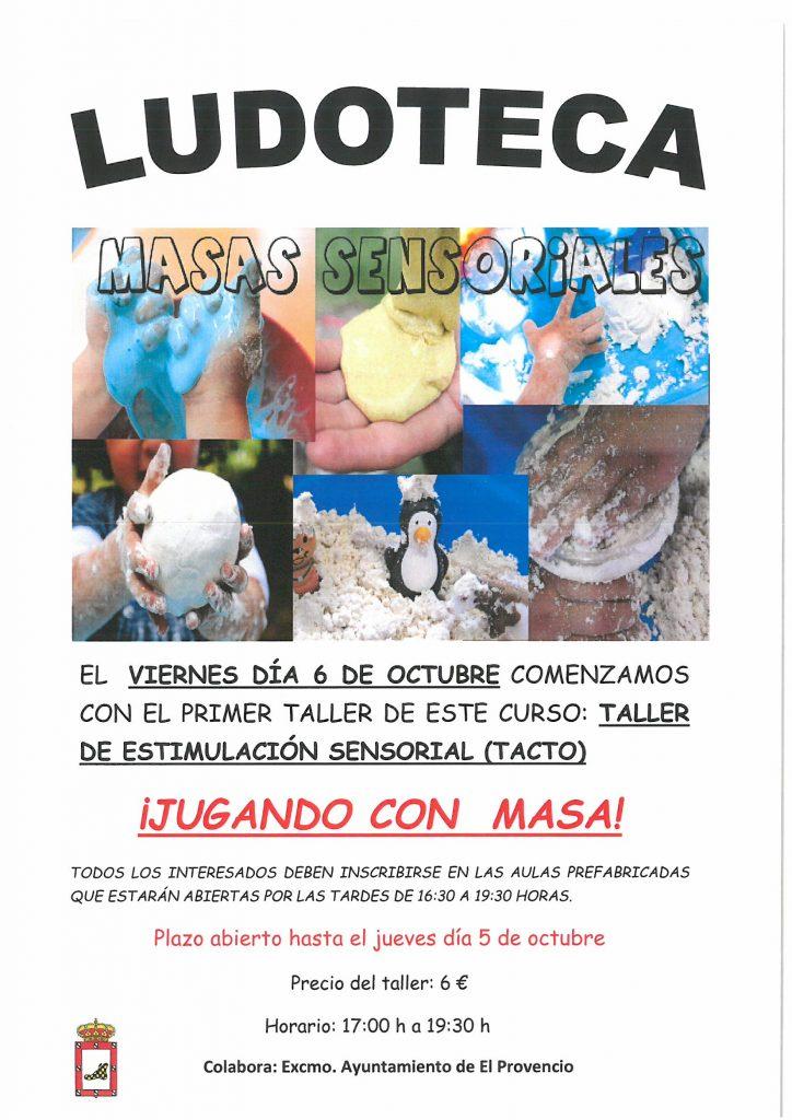 El próximo viernes día 6 de octubre la ludoteca oferta el taller «JUGANDO CON MASA»