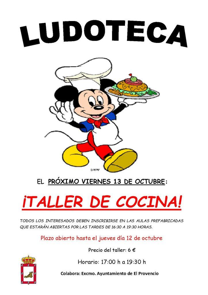 El próximo viernes día 13 de octubre la ludoteca oferta el taller «TALLER DE COCINA»
