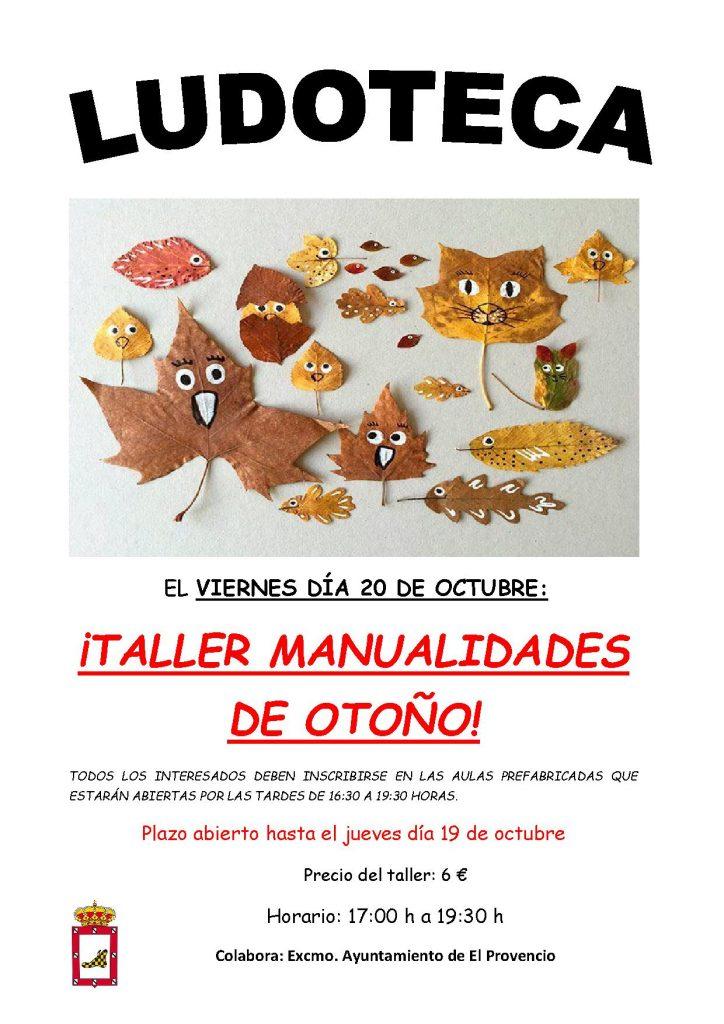 El próximo viernes día 20 de octubre la ludoteca oferta el taller «MANUALIDADES DE OTOÑO»