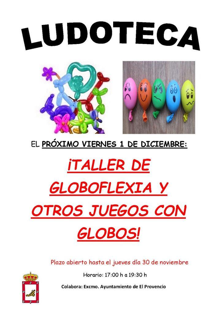 El próximo viernes día 1 de diciembre la ludoteca oferta el «TALLER DE GLOBOFLEXIA Y OTROS JUEGOS CON GLOBOS»