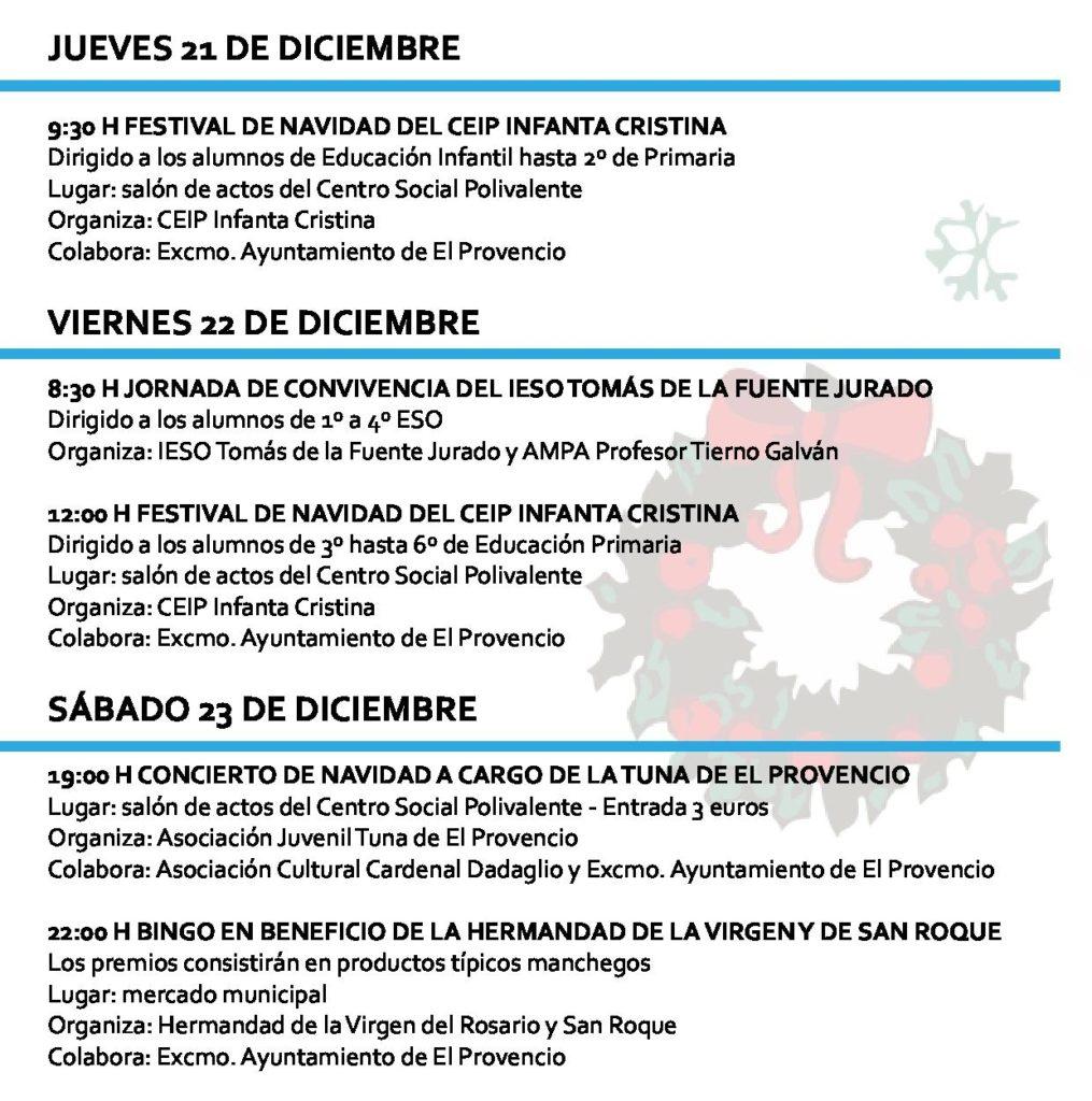 Programación navideña para los días 21, 22 y 23 de diciembre