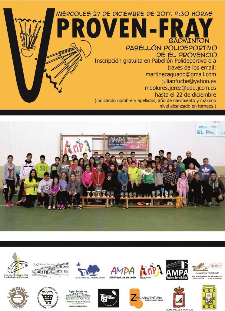 El V PROVEN-FRAY se celebrará el miércoles día 27 de diciembre, a partir de las 9:30 horas