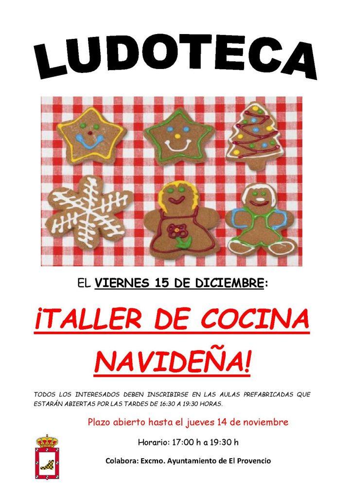 El próximo viernes día 15 de diciembre la ludoteca oferta el «TALLER DE COCINA NAVIDEÑA»