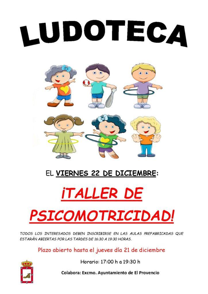 El próximo viernes día 22 de diciembre la ludoteca oferta el «TALLER DE PSICOMOTRICIDAD»