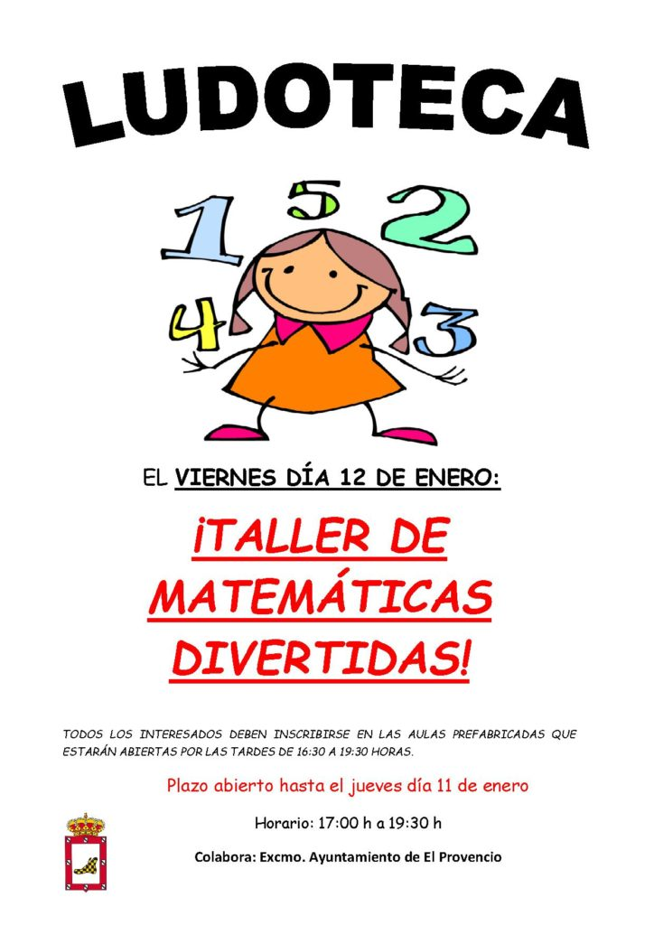 El próximo viernes día 12 de enero la ludoteca oferta el «TALLER DE MATEMÁTICAS DIVERTIDAS»