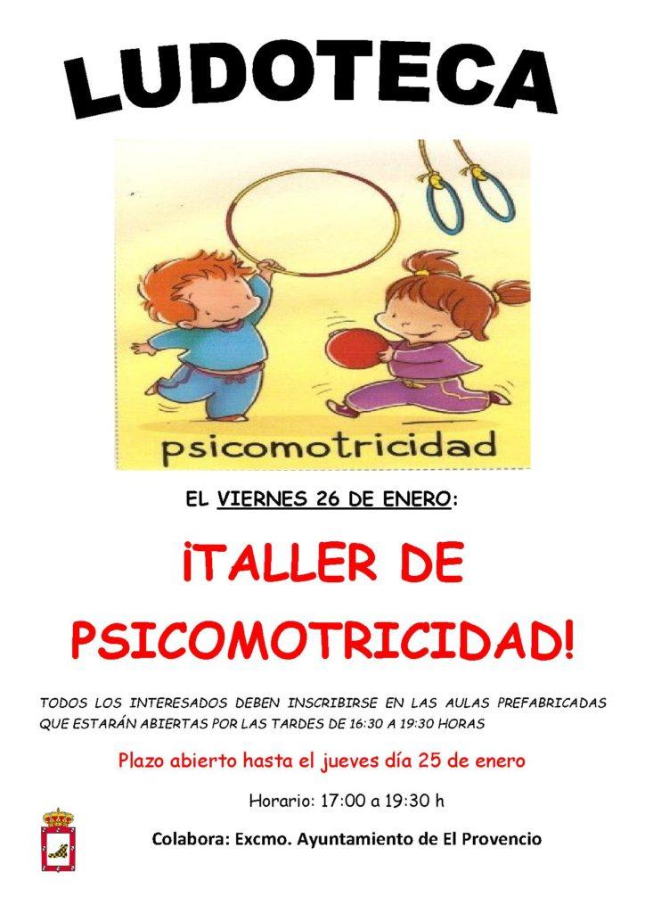 El próximo viernes día 26 de enero la ludoteca oferta el «TALLER DE PSICOMOTRICIDAD»