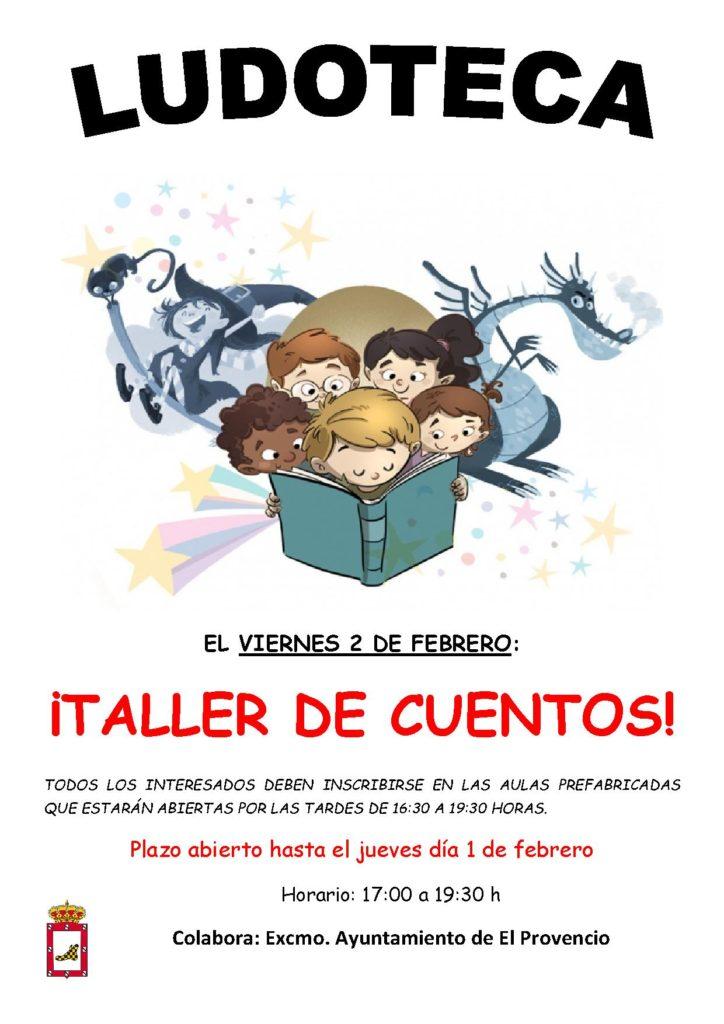 El próximo viernes día 2 de febrero la ludoteca oferta el «TALLER DE CUENTOS»