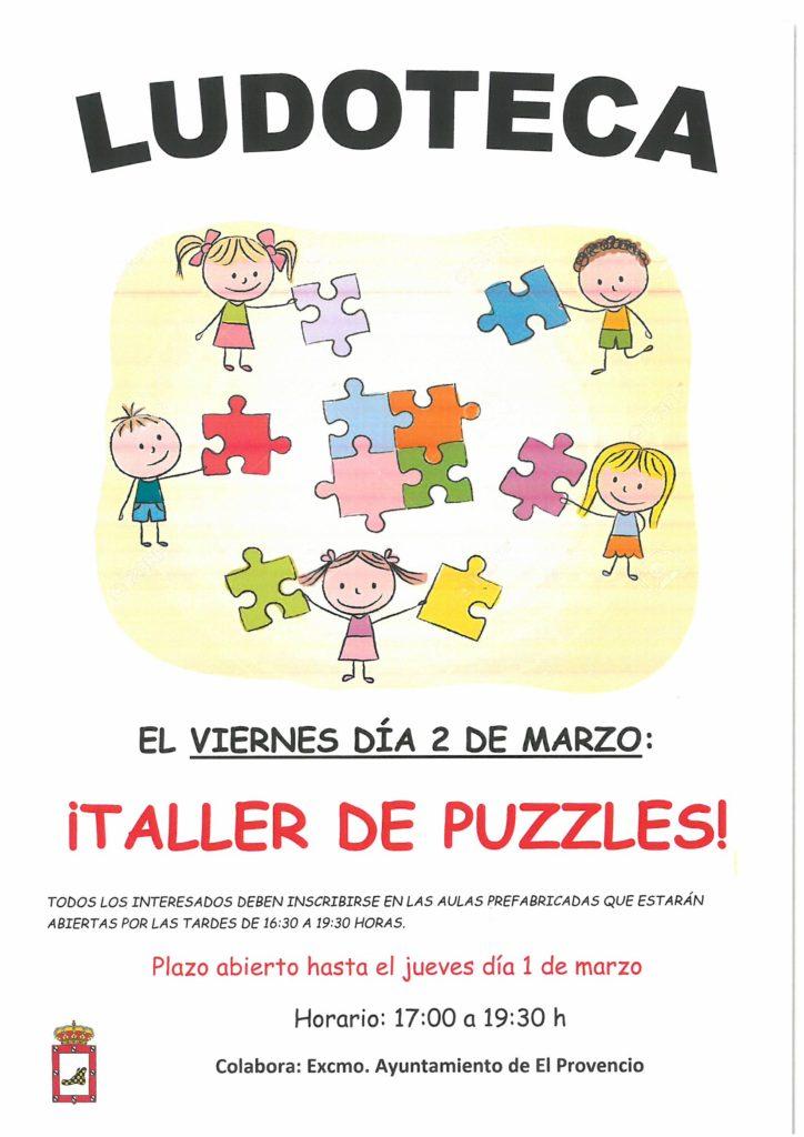 El próximo viernes día 2 de marzo la ludoteca oferta el «TALLER DE PUZZLES»