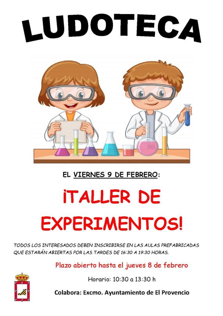 El próximo viernes día 9 de febrero la ludoteca oferta el «TALLER DE EXPERIMENTOS»