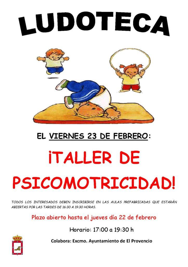 El próximo viernes día 23 de febrero la ludoteca oferta el «TALLER DE PSICOMOTRICIDAD»
