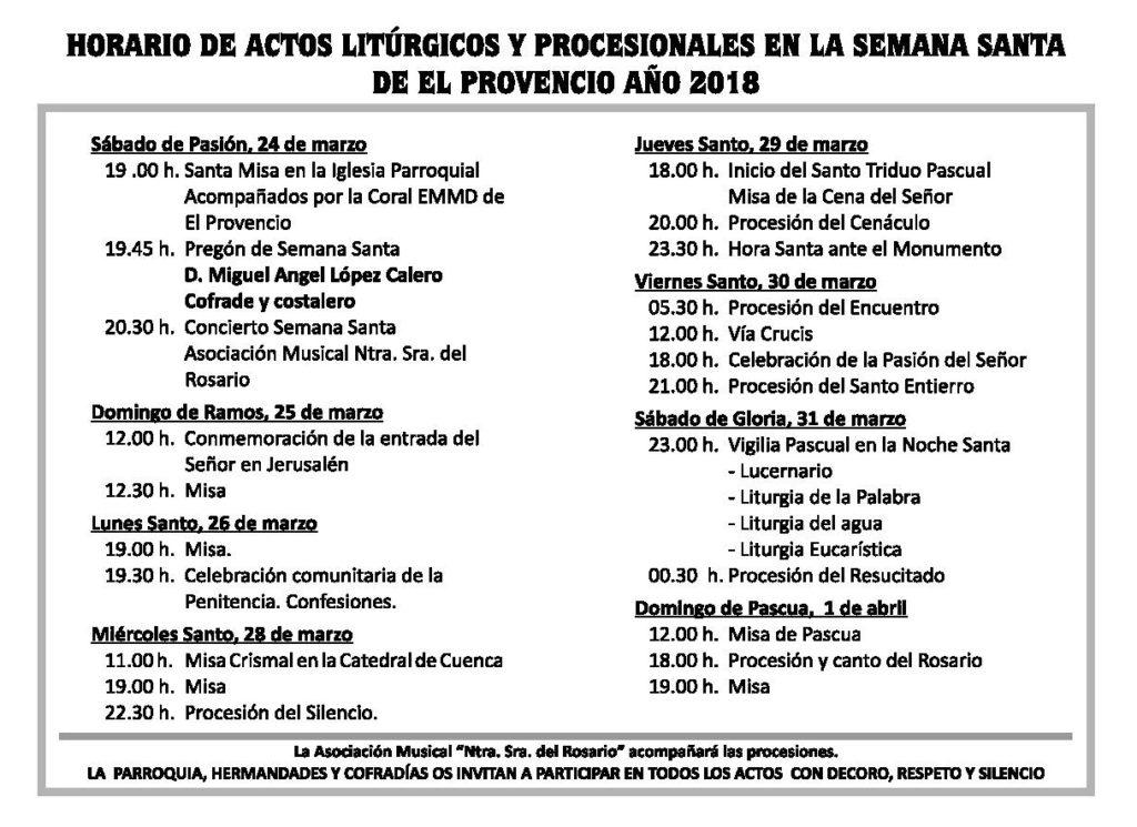 Horario de actos litúrgicos y procesionales en la Semana Santa de El Provencio 2018