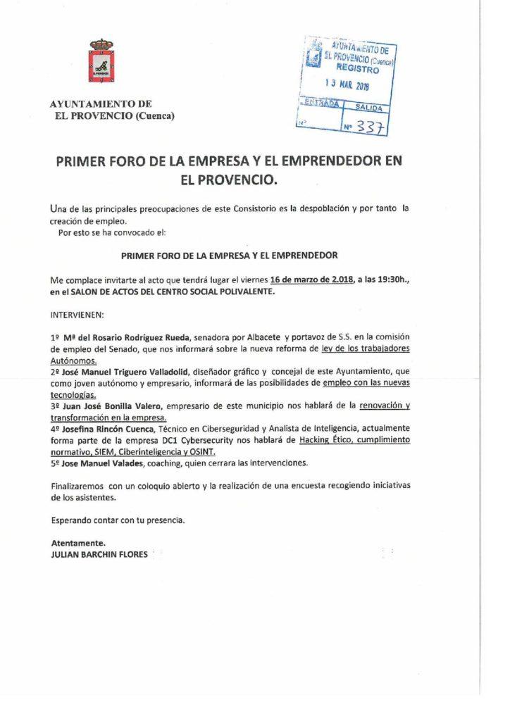 Nuestro Excmo. Ayuntamiento organiza el I FORO DE LA EMPRESA Y EL EMPRENDEDOR EN EL PROVENCIO
