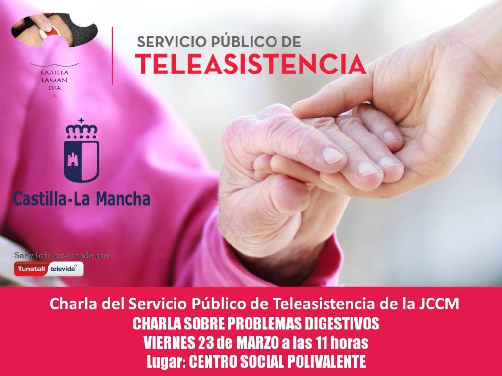 """El próximo viernes día 23 de marzo, charla dirigida a los usuarios del servicio de Teleasistencia y personas mayores sobre """"Problemas digestivos"""""""