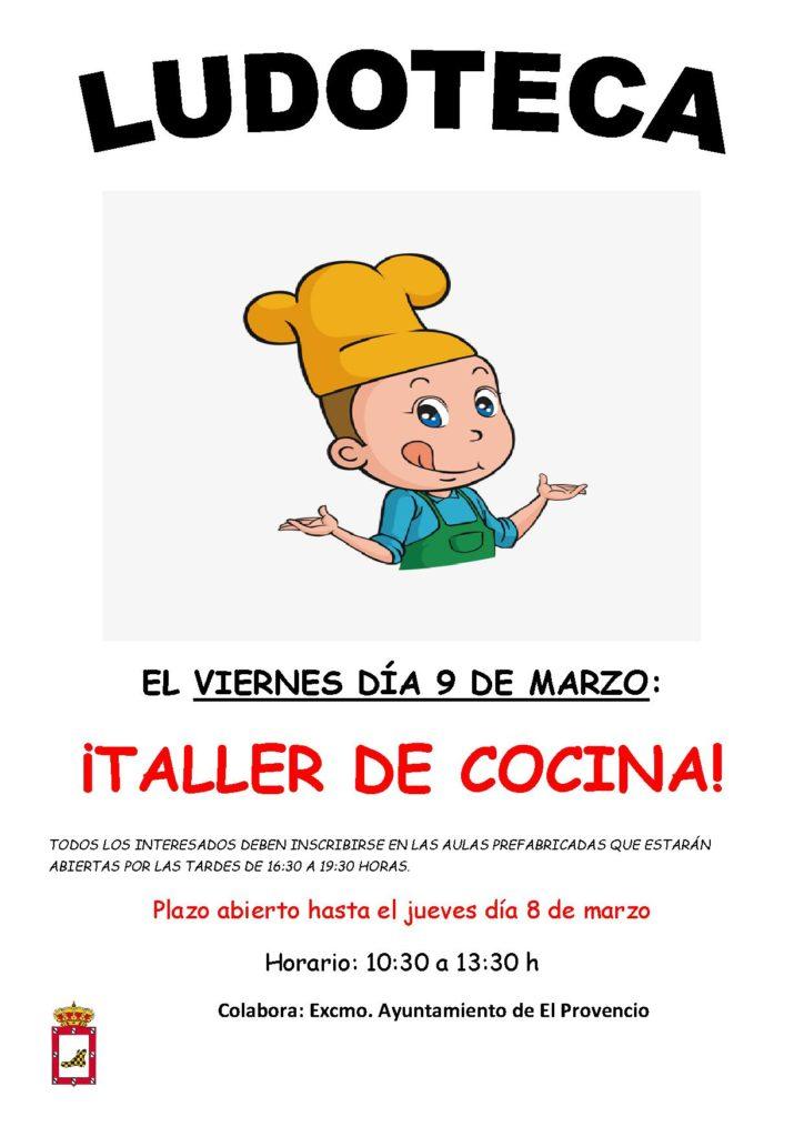 El próximo viernes día 9 de marzo la ludoteca oferta el «TALLER DE COCINA»