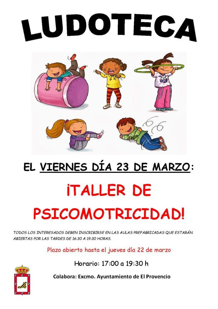 El próximo viernes día 23 de marzo la ludoteca oferta el «TALLER DE PSICOMOTRICIDAD»