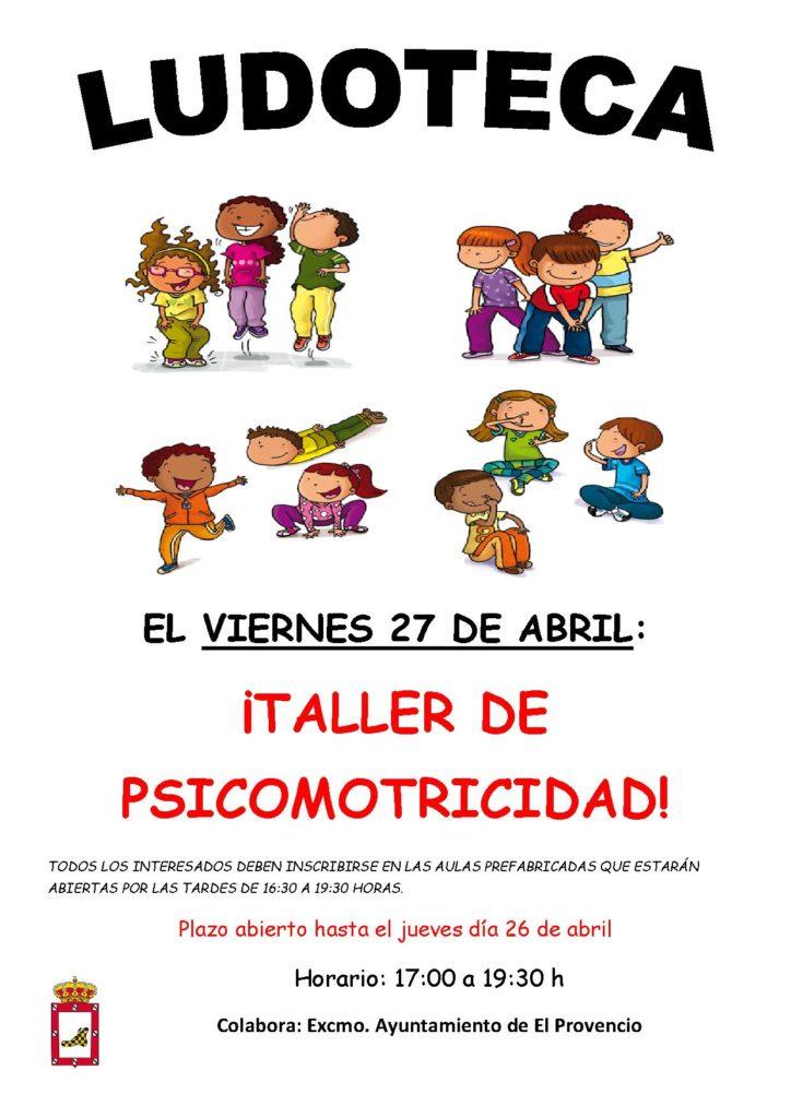 El próximo viernes día 27 de abril la ludoteca oferta el «TALLER DE PSICOMOTRICIDAD»