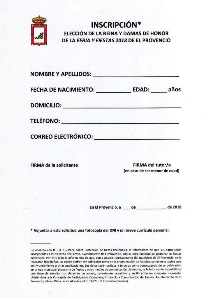 Publicadas las BASES PARA LA ELECCIÓN DE LA REINA Y DAMAS DE HONOR DE LA FERIA Y FIESTAS PATRONALES DE EL PROVENCIO